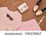 autumn arrives. fashion lady... | Shutterstock . vector #709278967