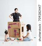 asian children sister with her... | Shutterstock . vector #709282447