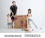 asian children sister with her... | Shutterstock . vector #709282513