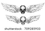 hand drawn skull with wing... | Shutterstock .eps vector #709285933
