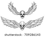hand drawn skull with wing... | Shutterstock .eps vector #709286143