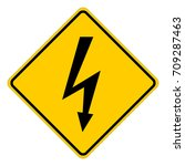 high voltage  yellow square... | Shutterstock .eps vector #709287463