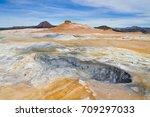 geothermal spring near myvatn... | Shutterstock . vector #709297033