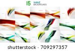 set of wave abstract business... | Shutterstock .eps vector #709297357