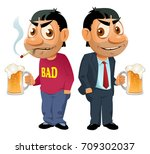 two guys with beer. they have... | Shutterstock .eps vector #709302037