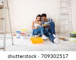 couple moving in new renovate...   Shutterstock . vector #709302517