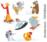 cute animal characters doing... | Shutterstock .eps vector #709308463