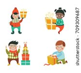 vector kids with christmas