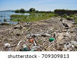 Polluted River Bank Dunghill B...