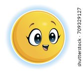 emotions smile. yellow smiling... | Shutterstock .eps vector #709329127