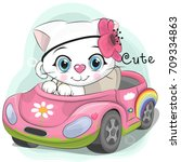 cute cartoon white kitten girl... | Shutterstock .eps vector #709334863