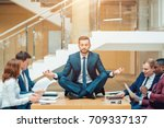 businessman wearing a suit... | Shutterstock . vector #709337137
