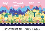 a beautiful magic forest scene... | Shutterstock .eps vector #709341313
