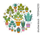 flowers in pots. potted plants. ... | Shutterstock .eps vector #709344253