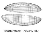 wireframe mesh hemisphere shell.... | Shutterstock .eps vector #709347787