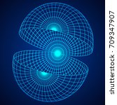 wireframe mesh hemisphere shell.... | Shutterstock .eps vector #709347907