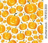halloween seamless pattern with ... | Shutterstock .eps vector #709351303