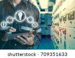 double exposure of engineer or...   Shutterstock . vector #709351633