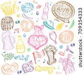 colorful hand drawn oktoberfest ...   Shutterstock .eps vector #709354333