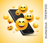 emoji happy smiley design with... | Shutterstock .eps vector #709359103