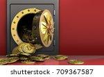 3d illustration of metal safe... | Shutterstock . vector #709367587
