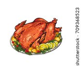 whole roasted turkey served... | Shutterstock .eps vector #709368523