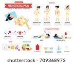 menstrual pain infographics... | Shutterstock .eps vector #709368973