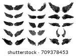 hand drawn wing set.sticker... | Shutterstock .eps vector #709378453