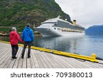 couple of travelers look at the ... | Shutterstock . vector #709380013
