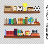 book shelf.  bookstore indoor.... | Shutterstock .eps vector #709380757