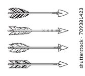 set of tribal style arrows.... | Shutterstock .eps vector #709381423
