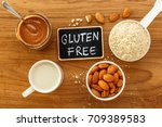 gluten free food from almonds... | Shutterstock . vector #709389583