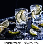 closeup vodka in a glass with... | Shutterstock . vector #709392793