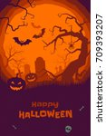 happy halloween poster of... | Shutterstock .eps vector #709393207