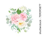 bouquet of wild rose  pink... | Shutterstock .eps vector #709395877