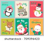 set of cute cartoon character... | Shutterstock .eps vector #709396423