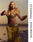 beautiful blonde belly dancer...   Shutterstock . vector #709400113
