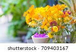 various flowers rose cosmos in... | Shutterstock . vector #709403167