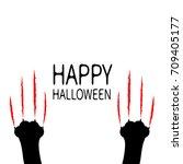 happy halloween card. bloody...   Shutterstock .eps vector #709405177