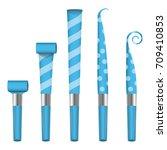 party horn blower vector. blue... | Shutterstock .eps vector #709410853