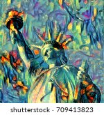 oil painting artwork of liberty ... | Shutterstock . vector #709413823
