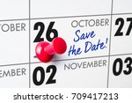 wall calendar with a red pin  ... | Shutterstock . vector #709417213