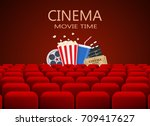 movie theater with row of red... | Shutterstock . vector #709417627