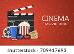 movie poster template. popcorn  ... | Shutterstock . vector #709417693