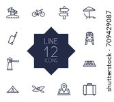set of 12 journey outline icons ... | Shutterstock .eps vector #709429087