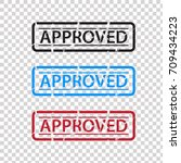approved rubber stamp | Shutterstock .eps vector #709434223