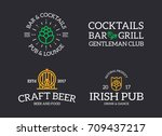 set of retro vintage beer and... | Shutterstock .eps vector #709437217