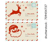 vector mail to santa. cards...   Shutterstock .eps vector #709454737