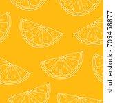 seamless pattern. orange... | Shutterstock . vector #709458877