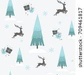 a christmas seamless design...   Shutterstock .eps vector #709461817